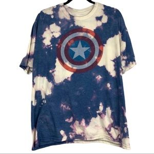 Marvel Captain America bleach tie dye t shirt XXL